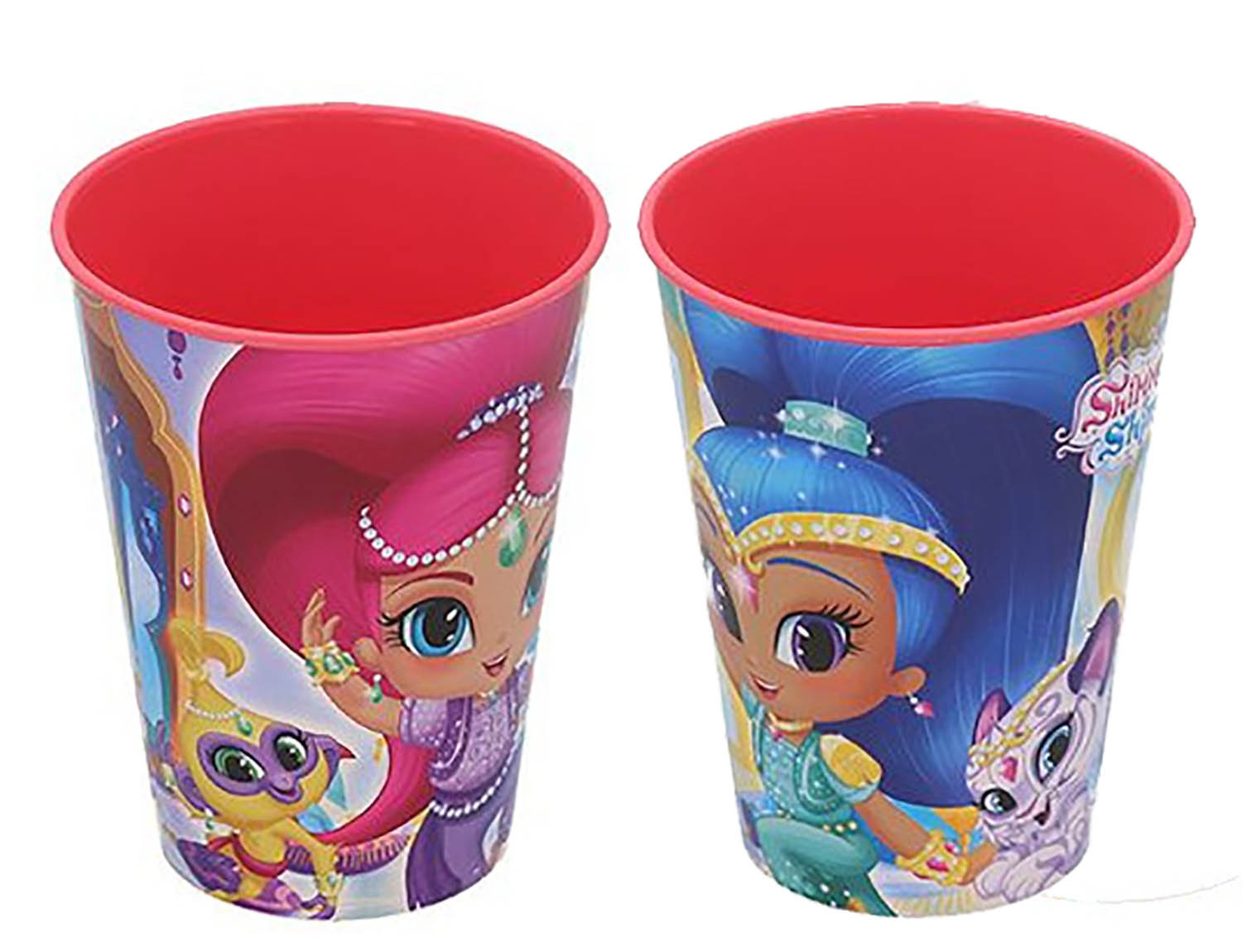 Glass, Hard Plastic, Reusable, for Kids, Pink, 260ML. Model Shimmer & Shine, with style Child - Home and More