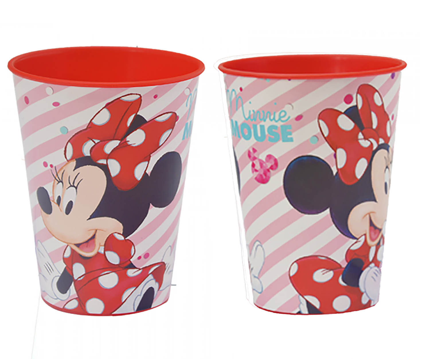 Glass, Hard Plastic, Reusable, for Kids, Pink, 260ML. Model Minnie Mouse, with style Child - Home and More