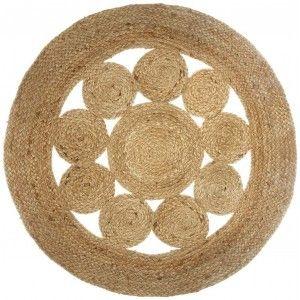 Alfombra Yute para Salón o Dormitorio, Moqueta 100% Naturales Redondas. Decoración Tapiz étnica 80 cm