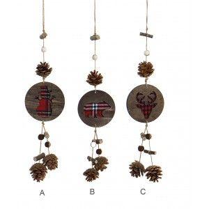 Decoración  Colage de Navidad en madera, Tres Diseños diferentes, con Piñas y tronquitos colgantes 10X3,5X48cm