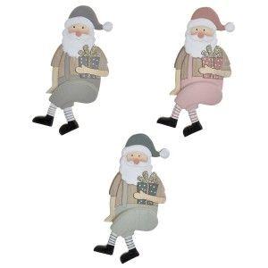 Papa Noel Decorativo, Santa Claus Sentado, Figura de Madera, Decoración Navidad Original 9x3,5x20cm