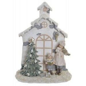Figura Decorativa de Navidad, Realizada en Resina, Puerta Navideña con Árbol Led. Decoracion Navidadeña Original 16,5x8,5x22cm
