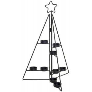 Árbol de Navidad Portavelas Metal, Decoración Navideña Original, Portavelas Negro Metálico, 28x44cm