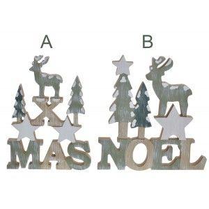 Decoración Navideña NOEL/XMAS, Figura Decorativa de Madera en color Verde. Decoración Original 18,7x2,3x19cm