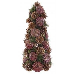 Árbol de Navidad con Piñas Rosa, Decoración Navideño. Árboles de Navidad Originales 20x20x43cm