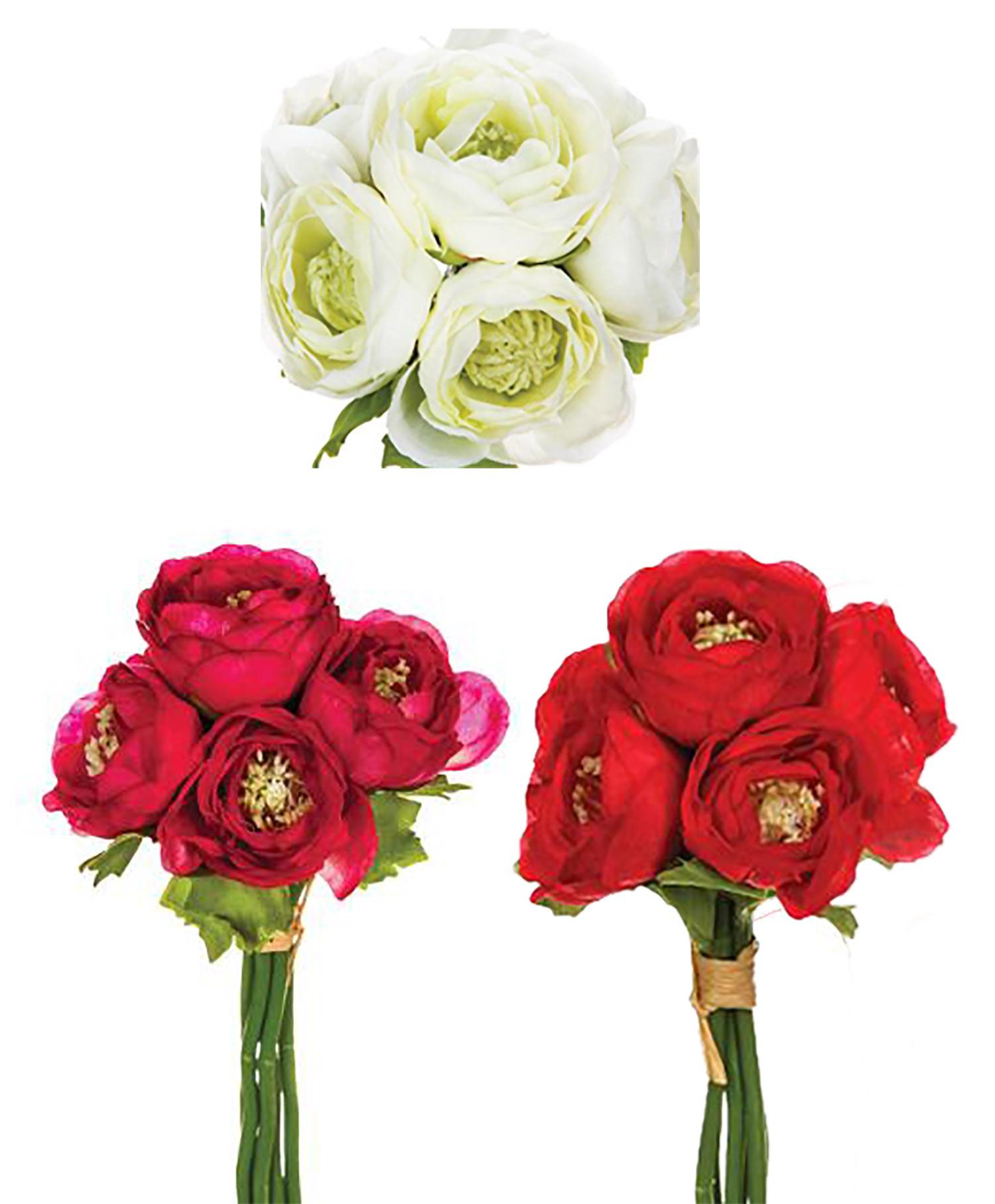 Ramo de Flores Artificial, Rosas Decoración Floral para Jarrones 25 cm