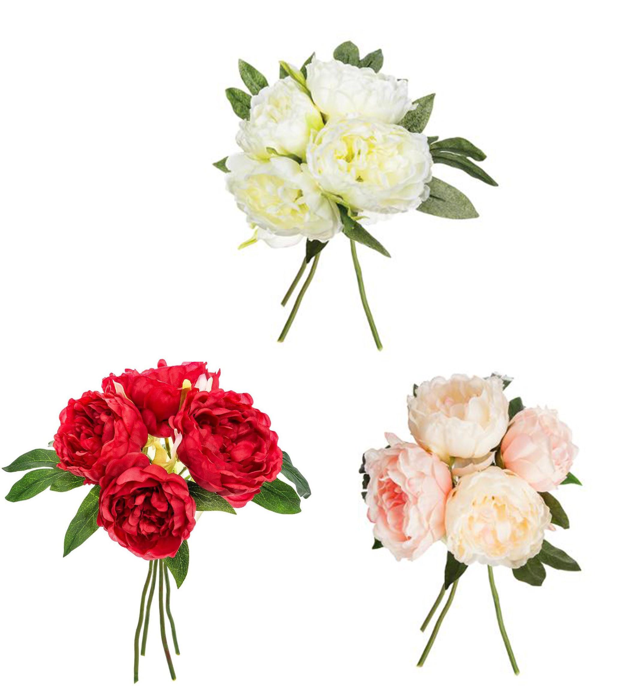 Peonía Decoración Floral para Jarrones, Ramo de Flores Artificial 30 cm