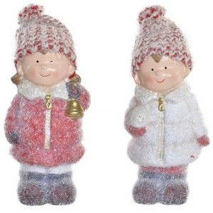 Figura Decorativa Navidad, Niños Navideños de Terracota, Decoración Navideña Original, 8x6x15,5cm
