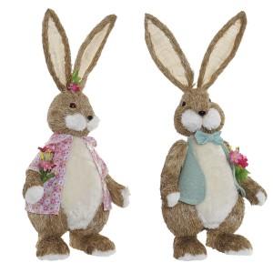Conejo Figura Decoración Jardín Grande, Estatua Animal Decorativo Fibra 30X18X63 cm