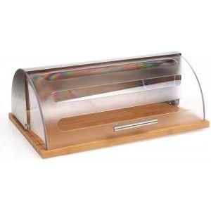Panera Acero Inoxidable y Bambú con Tapa Transparente, Diseño Moderno/Elegante. Almacenamiento Pan 39x26,5x15,5 cm