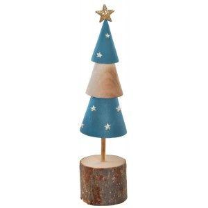 Árbol de Navidad Madera Natural, Azul, Figura Navideña Tronco de Paulownia, Decoración Original, Adornos 5X5,5X15cm