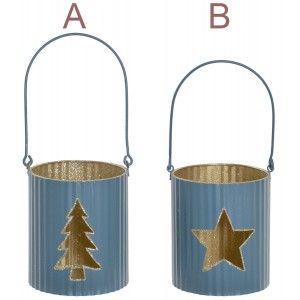 Portavelas Navidad Metálico, Árbol y Estrella. Color Azul y Dorado. Decoración Navideña Original, 9x9x10cm