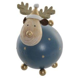 Reno Navidad Decoración, de color Azul, Figura de Metal Paulownia, Gorro de Papa Noel 9x9x14cm