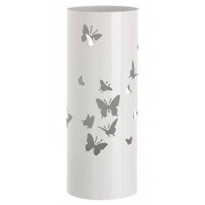 Paragüero, soporte para Paraguas, Metálico Diseño Mariposas, Redondo, Acabado Brillante Blanco. 19,5x49 cm.