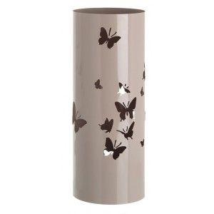 Paragüero, soporte para Paraguas, Metálico Diseño Mariposas, Redondo Acabado Brillante Beige. 19,5 x 49 cm. Hogar y Más