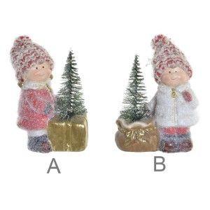 Figura decorativa LED Navidad, Figura de Niña con arbol de Navidad de Terracota, Decoración Original y Navideña 10X5,5X11