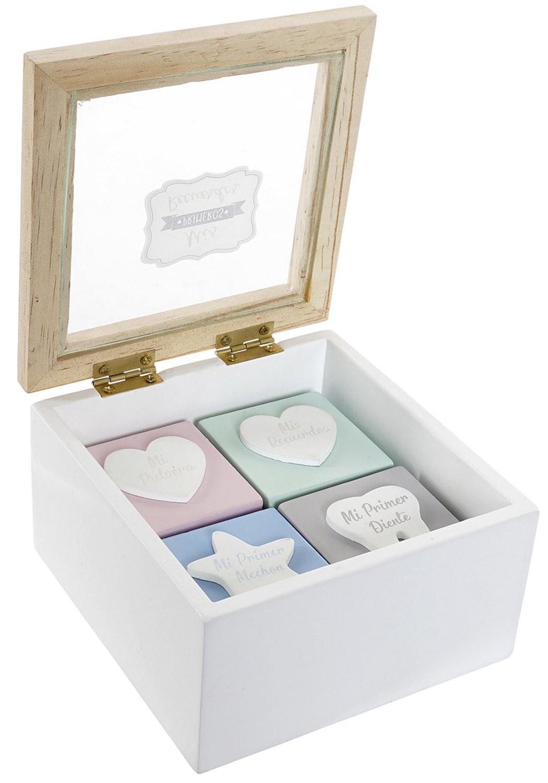 Caja Guarda Recuerdos, Bebé Recién Nacido, Almacenamiento de Madera MDF y Cristal con 5 Compartimentos, 12x12x7cm