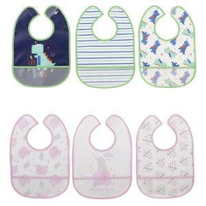 Baberos Bebe Impermeables de Colores, Set de Baberos para Bebé de PEVA, 24X34X2cm