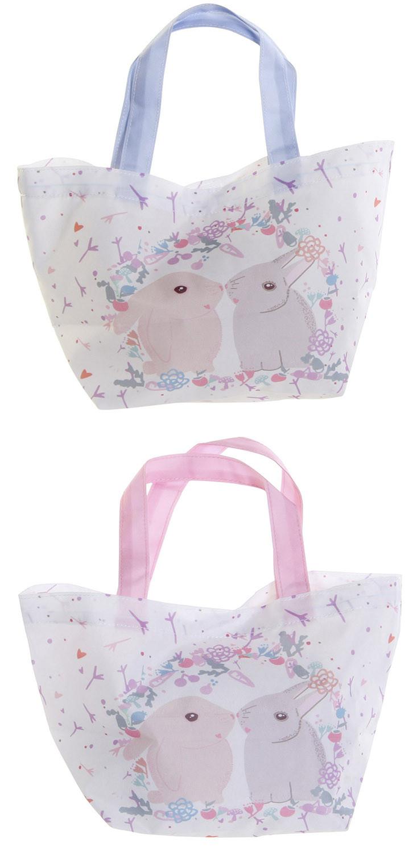 Bolsa Infantil Tela con Asas, de Lienzo y Poliéster. Almacenamiento Infantil con diseño de Conejos. 33x8x21cm