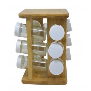 Bamboo spice rack with 12 bottles (23.5x15x15)