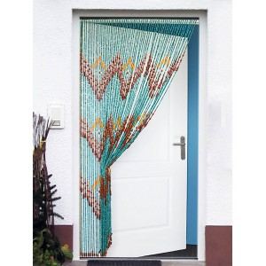 Curtain for door, multicolor, wood . Design zig zag. Original Design. 90 x 200 cm - Home and more.