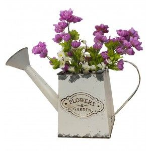 "Planter box White Decorative Vintage Metal for Interior/Exterior. Original in the form of a Watering can ""Flower Garden"""