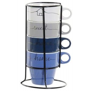 SET DE 4 TAZAS CAFE HOME