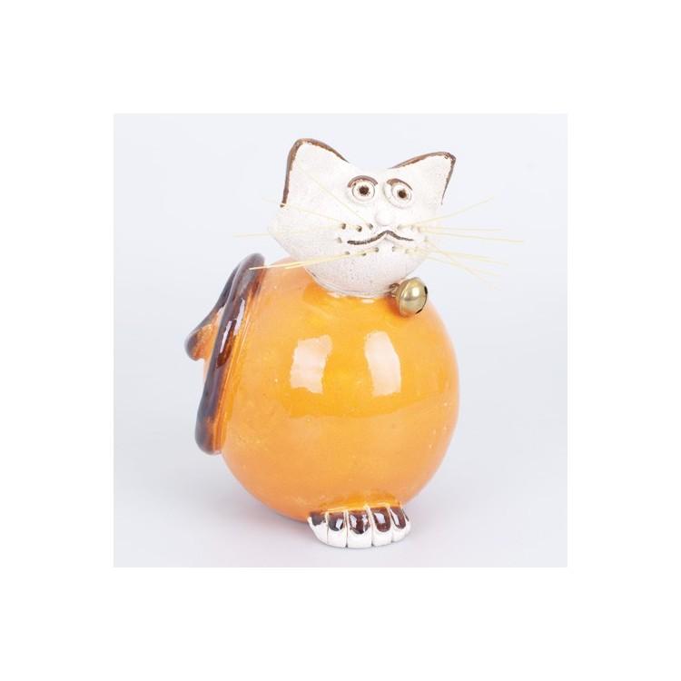 Figura de Gato de Cerámica Natural Naranja Hogar y Más