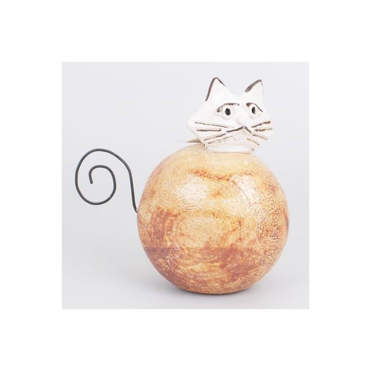 Figura de Gato de Cerámica Natual Marrón y Cola de Alambre Hogar y Más