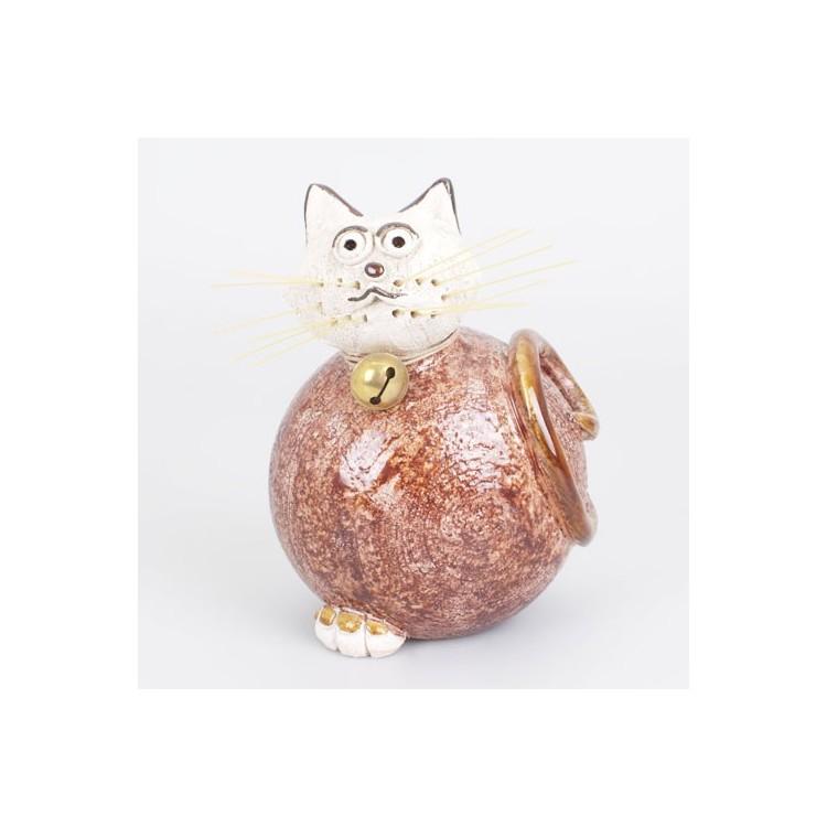 Figura de Gato de Cerámica Natural Marrón Pequeño Hogar y Más
