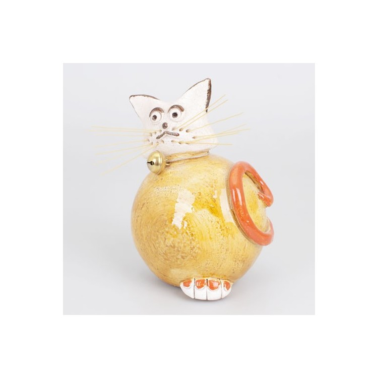 Figura de Gato de Cerámica Natural Amarillo Redondeado
