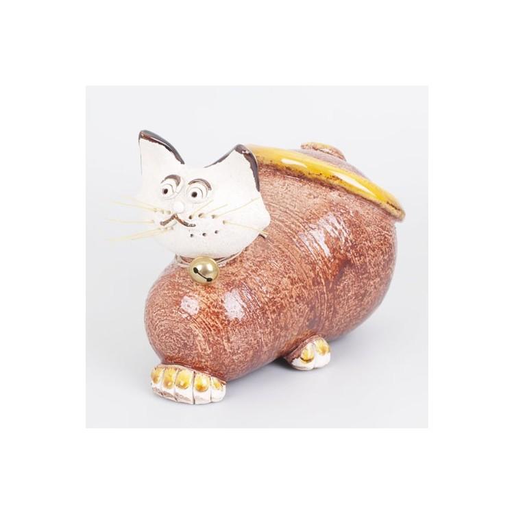 Figura de Gato de Cerámica Natural Marrón Hogar y Más