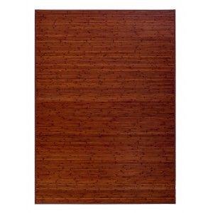 Alfombra para Baño Antideslizante Natur, Marrón Oscuro, De Bambú Natural, 60 X 45 cm Sostenible, Impermeable, Borde Textil 60x45