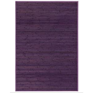 Alfombra Salón/Dormitorio Antideslizante, color Lila, Bambú Natural 200 X 300 cm Sostenible, Impermeable, Borde Textil 200x300