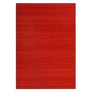 Alfombra Salón/Dormitorio Antideslizante, color Rojo, Bambú Natural 200 X 300 cm Sostenible, Impermeable, Borde Textil 200x300