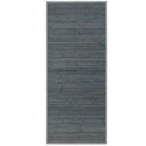 Alfombra Pasillera Antideslizante,color Gris Opalino, de Bambú Natural 125 X 60 cm Sostenible, Impermeable, Borde Textil 125x60