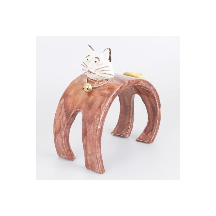 Figura de Gato de Cerámica Natural con Forma de Arco Hogar y Más