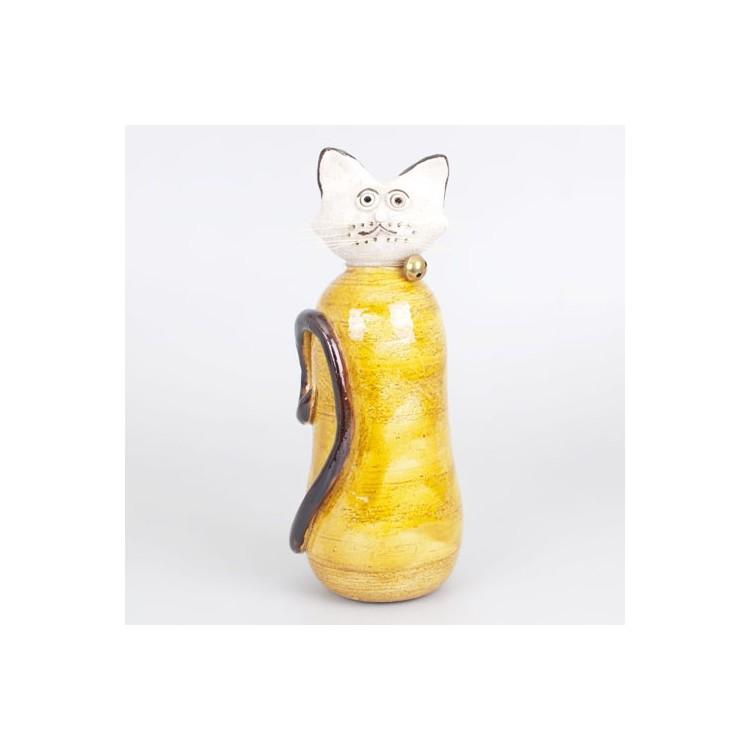 Figura de Gato de Cerámica Color Amarillo Hogar y Más