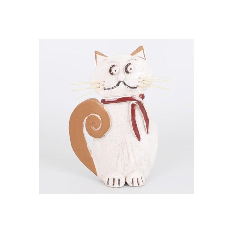 Figura de Cerámica Natural Forma de Gato Hogar y Más