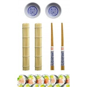 Sushi Kit Completo para 2 Personas, Palillos chinos, Esterillas, Cuenco Melamina Azul, SET 6.