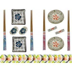 Sushi Kit 6 pcs Porcelana y Madera de Bambú, Diseño Floral/Oriental. Palillos Chinos y Acessorios.