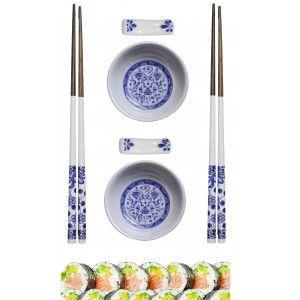 Sushi Kit Completo para 2 Personas, Palillos chinos, Cuenco Melamina Azul, Accesorios SET 6.