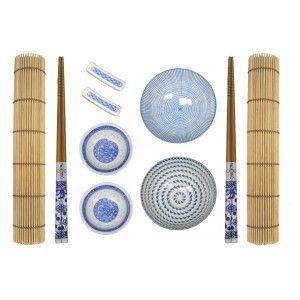 Sushi Kit Completo para 2 Personas, Palillos chinos, Esterillas, Accesorios Porcelana Azul, SET 10.