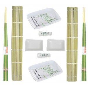 Sushi Kit Completo para 2 Personas, Palillos chinos, Esterillas, Accesorios Porcelana, SET 8.