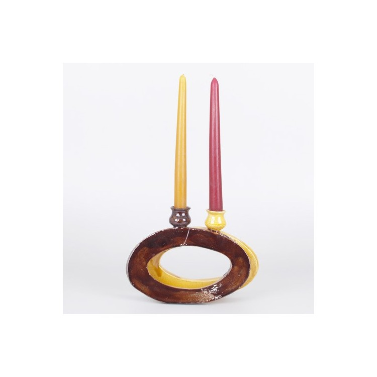 Candelabro Doble de Cerámica Natural Diseño Original Hogar y Más