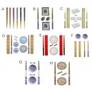 Sushi Kit Completo Y Accesorios, Ideal para Comida Asiática. Cuencos Soja, Platos de Sushi.