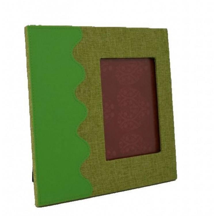 Marco de fotos, color Verde en Tela muy Original. Ideal para regalar (Foto 11 x 16 cm. Marco 26,5 x 26,5 cm).-Hogarymas-