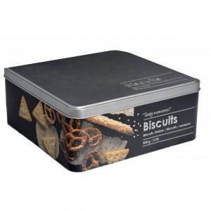 Caja Galletas Metálica Moderna, Galletas Caja Negra y Plateada con Dibujos de Biscuits en Relieve 19,5x8 cm
