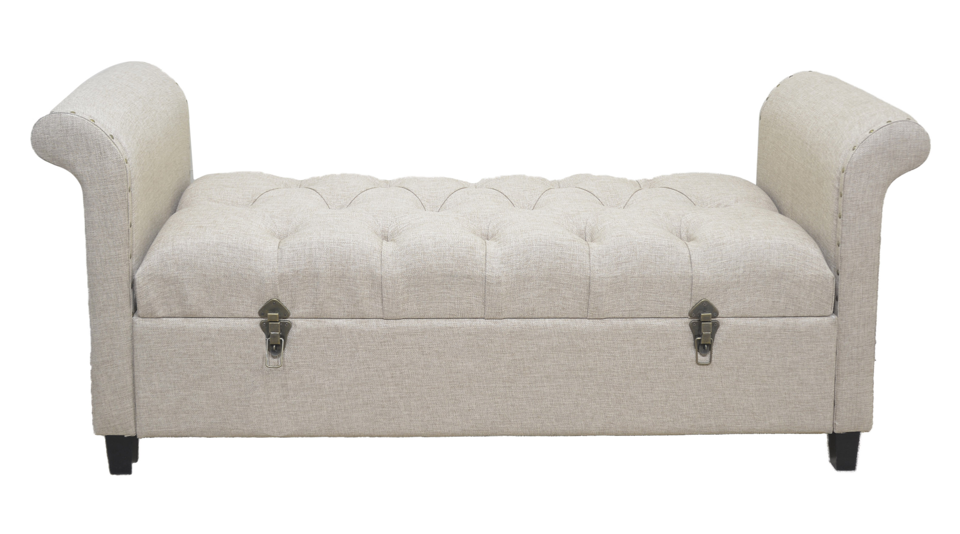 Descalzador furniture upholstered wooden structure Lino Brown `` Capitone'' with internal chest (137x46x60)