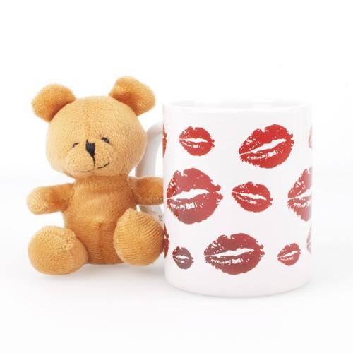 Taza cerámica con peluche kiss